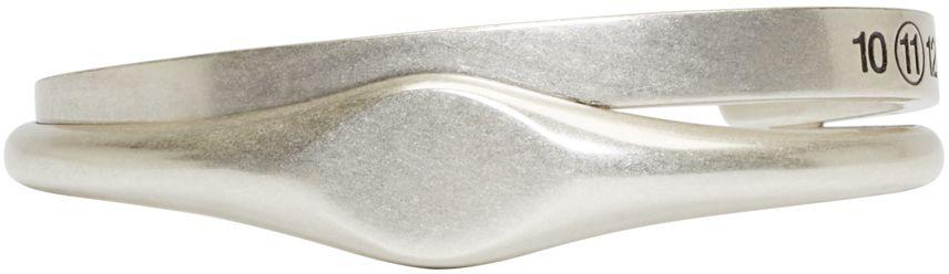 Maison Margiela: Silver Stamped Doubled Cuff | SSENSE