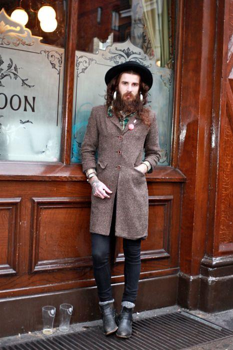fashion, guy, man, hat, long hair, coat, outdoor