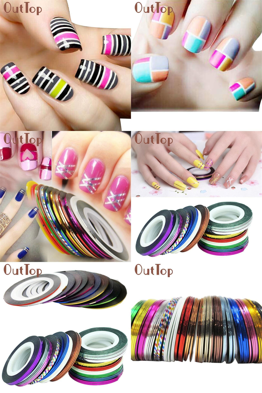 Visit to buy nail sticker 30pcs mixed colors rolls striping tape visit to buy nail sticker 30pcs mixed colors rolls striping tape line nail art prinsesfo Choice Image