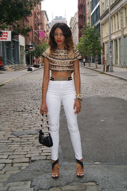 b9d5a271 Zara beaded bolero and sandals, Asos metal and spike belt , Nasty Gal The  Kink high-rise skinny jean , Top Shop pearl and spike necklace, Club Monaco  stone ...