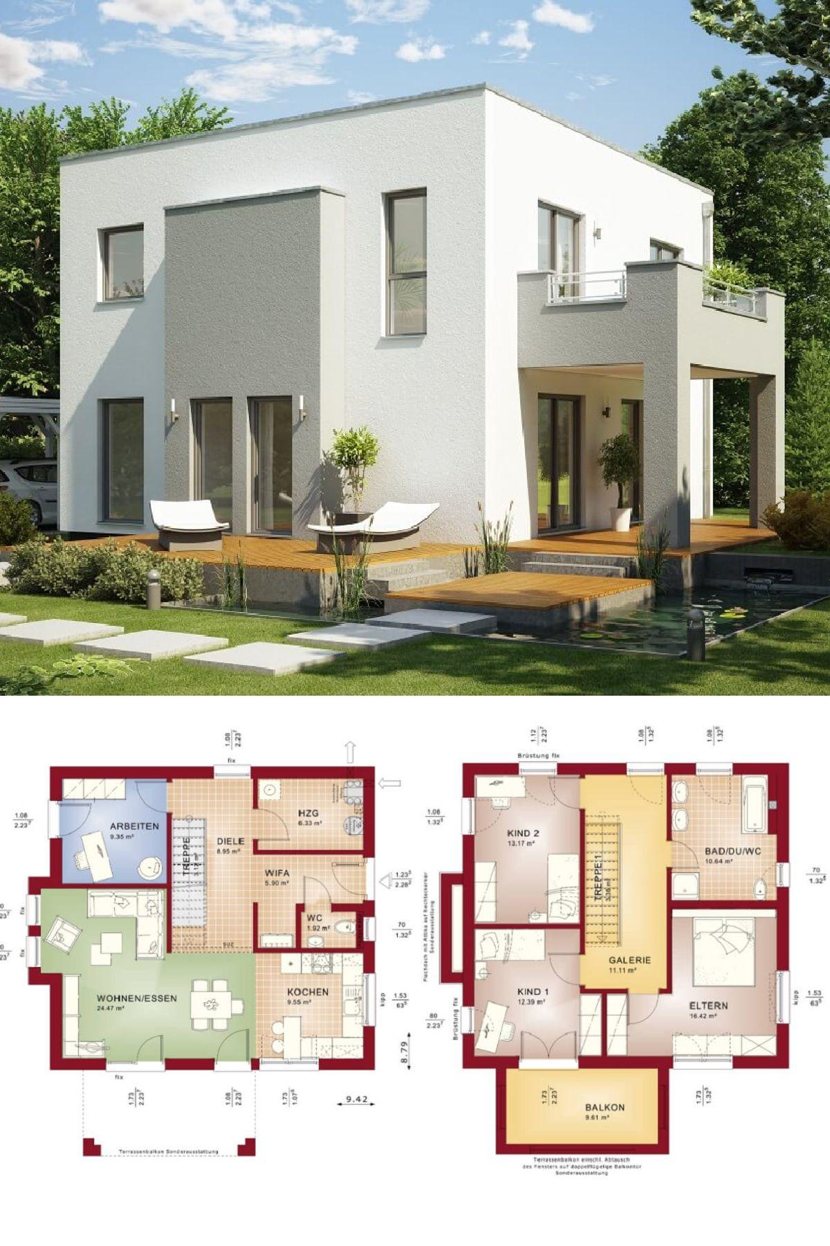 BauhausArchitektur mit Flachdach Haus Evolution 136 V9