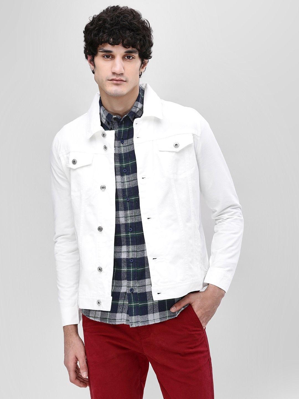 Buy Slim Fit Denim Jacket For Men Men S White Jackets Online In