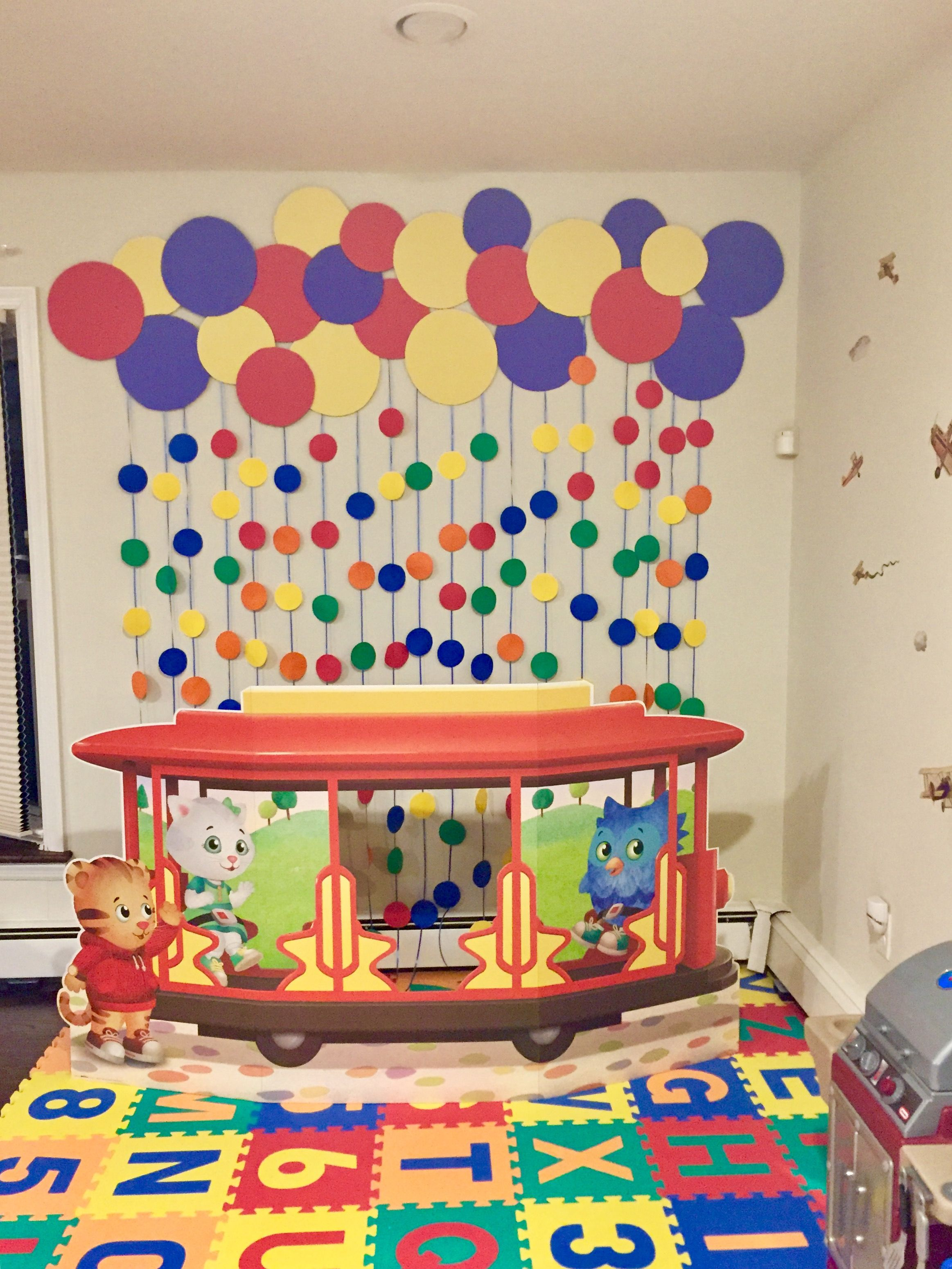 Daniel Tiger Trolley Diy Backdrop From Cardboard Circles And Construction Paper Glued Over Each Daniel Tiger Birthday Tiger Birthday Party Daniel Tiger Party