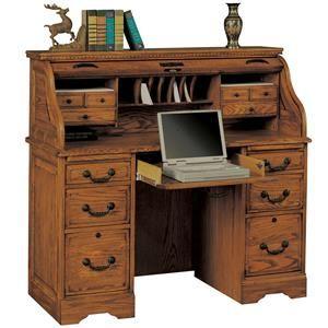 Winners Only Heritage Oak 48 Rolltop Desk With 2 Locking File