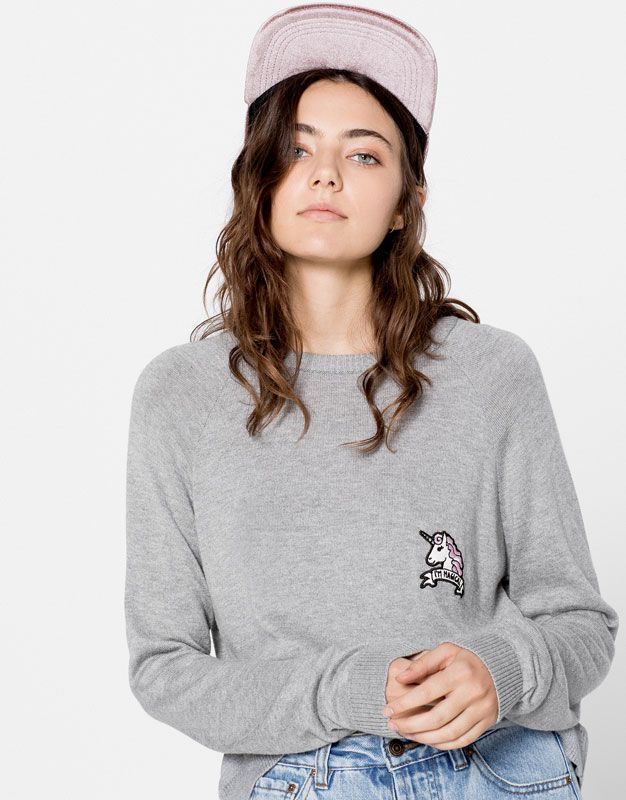 Clothing · Pull&Bear - woman - cardigans & sweaters - unicorn patch sweater…