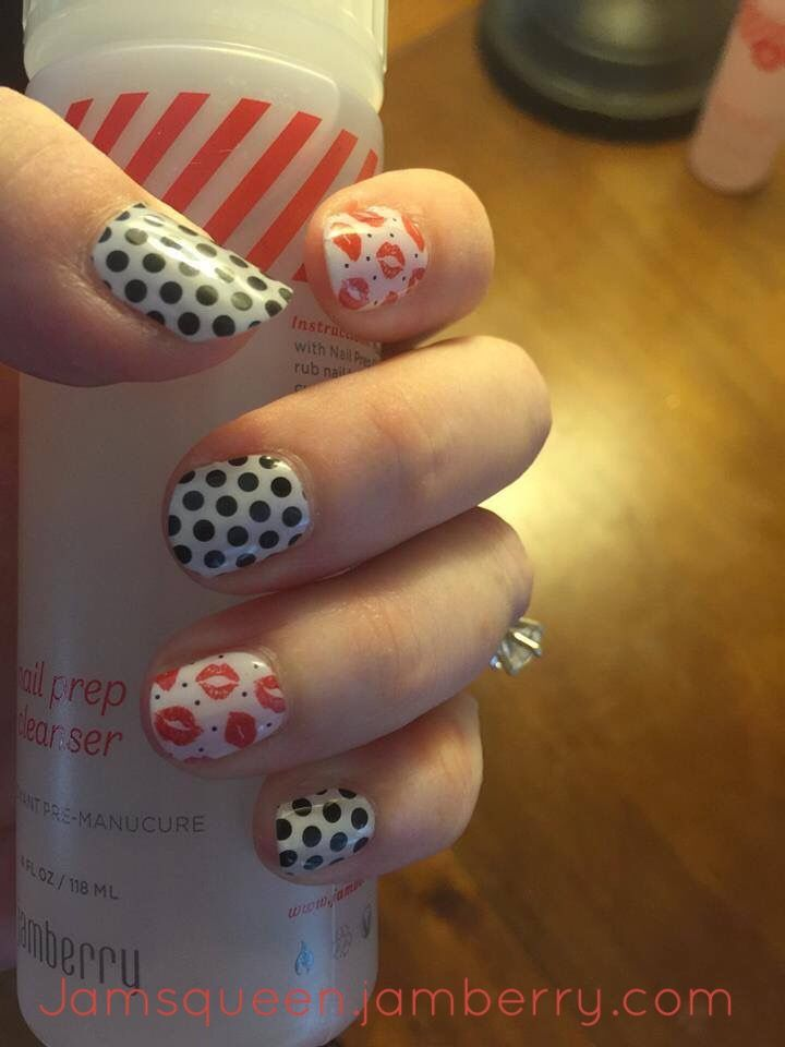 White & Black Polka Dot & With A Kiss Jamberry Wrap | Jamberry Nails ...