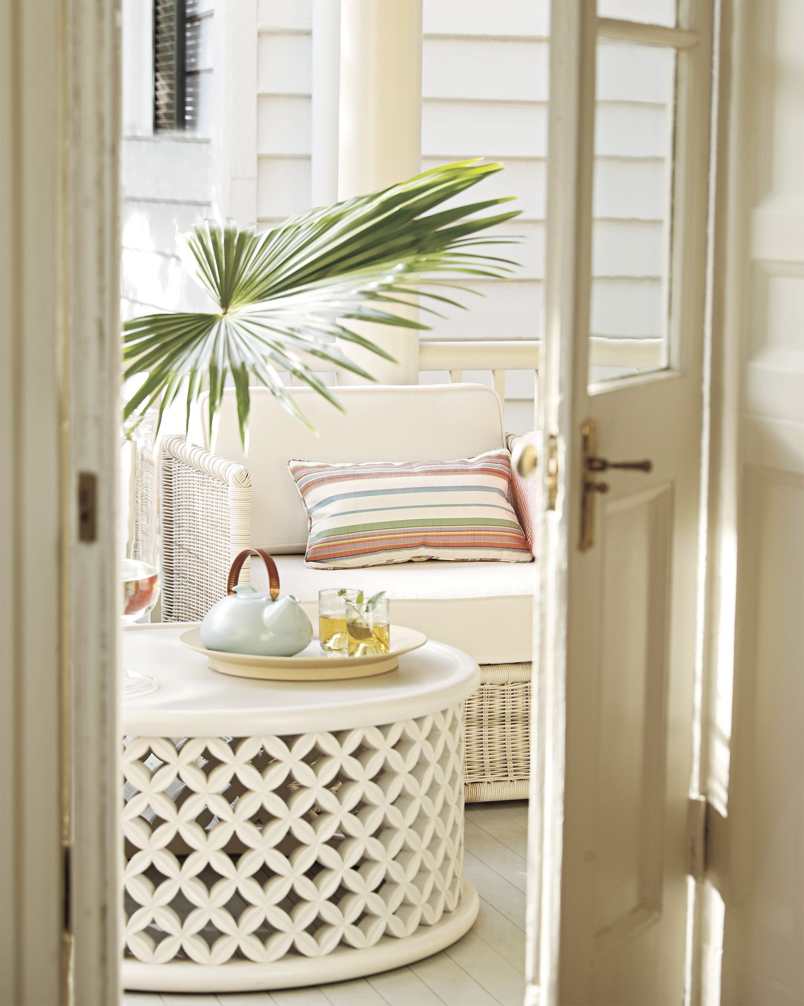 The Perfect Sunroom Outdoor Bamileke Coffee Table Via Serena Lily