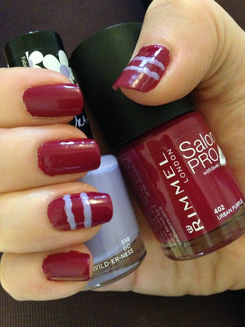 Deep pink nails with icy lilac parallel lines feature | My nails ...
