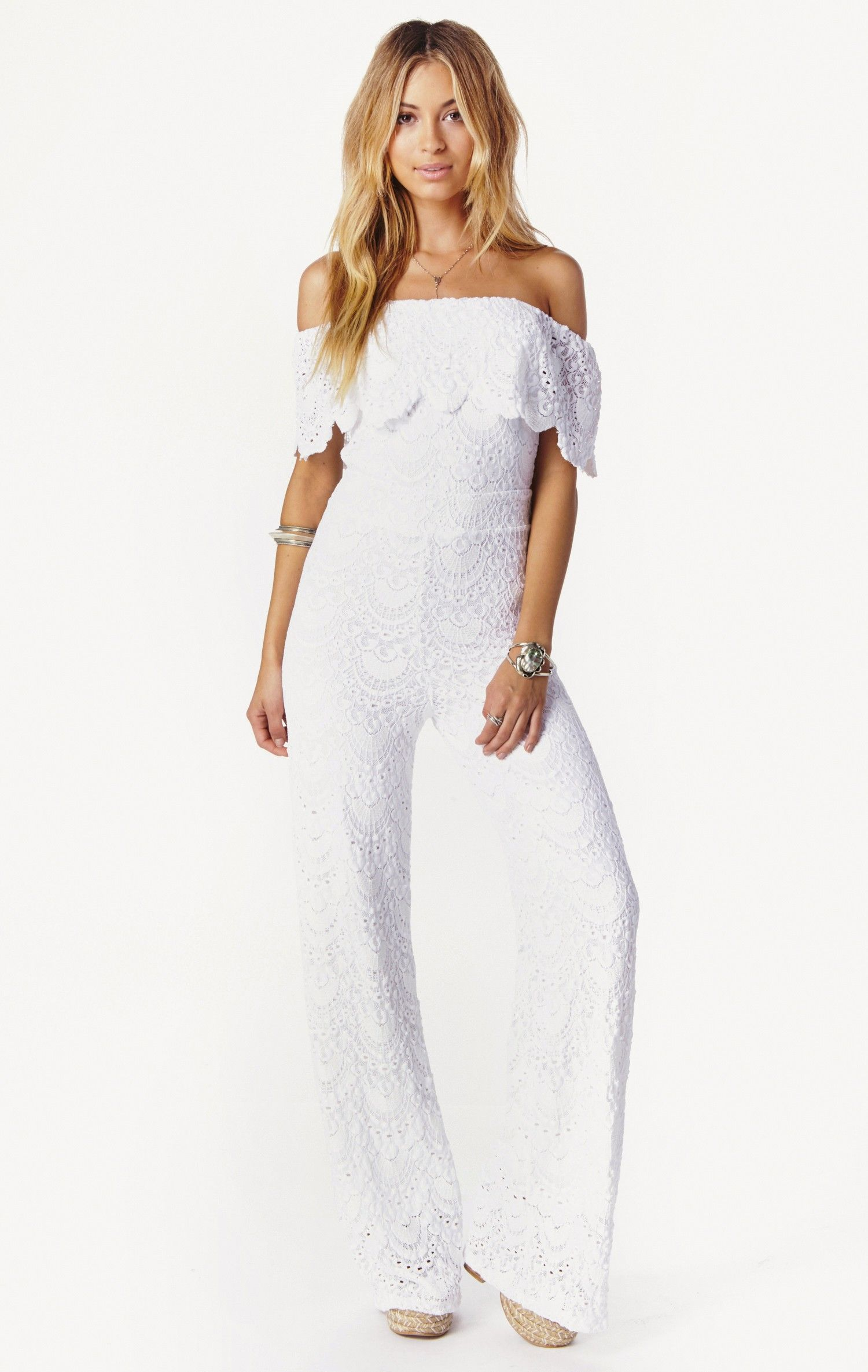 e9a00456c411 spanish lace off the shoulder jumpsuit by Nightcap