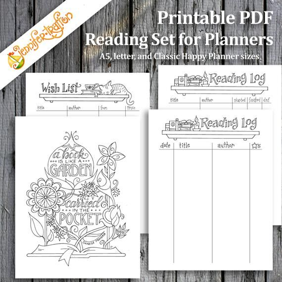 Reading Set / Book Garden Log Wish List Planner Pages / Bullet