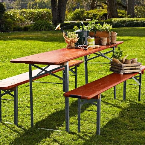Vintage Biergarten Table, Red | Patio area ideas, Gardens and Porch