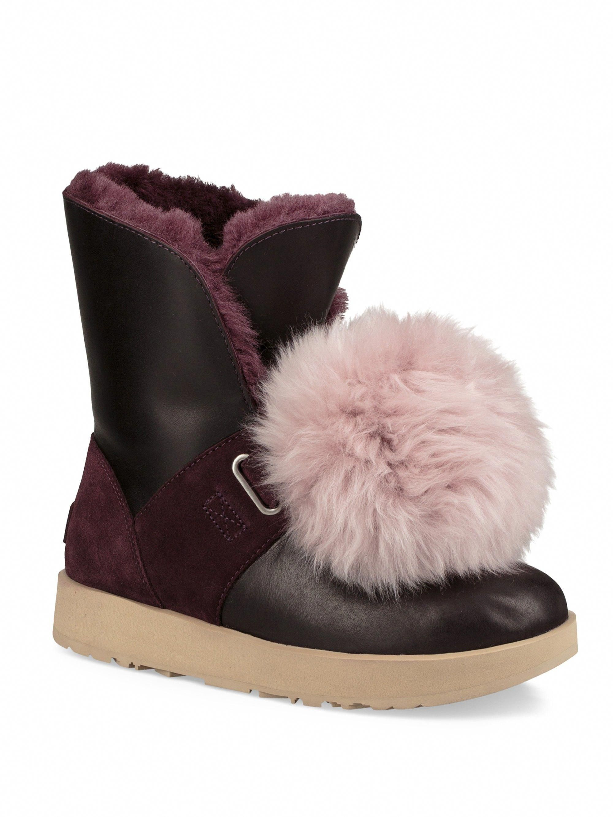 97e9ecb975c Ugg Australia Isley Pom-Pom Waterproof Leather Boots - Chestnut 6.5 ...