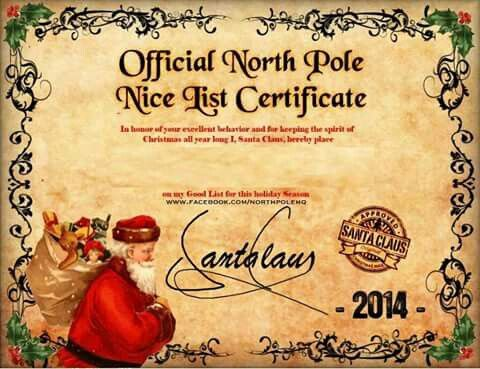 Santa nice certification