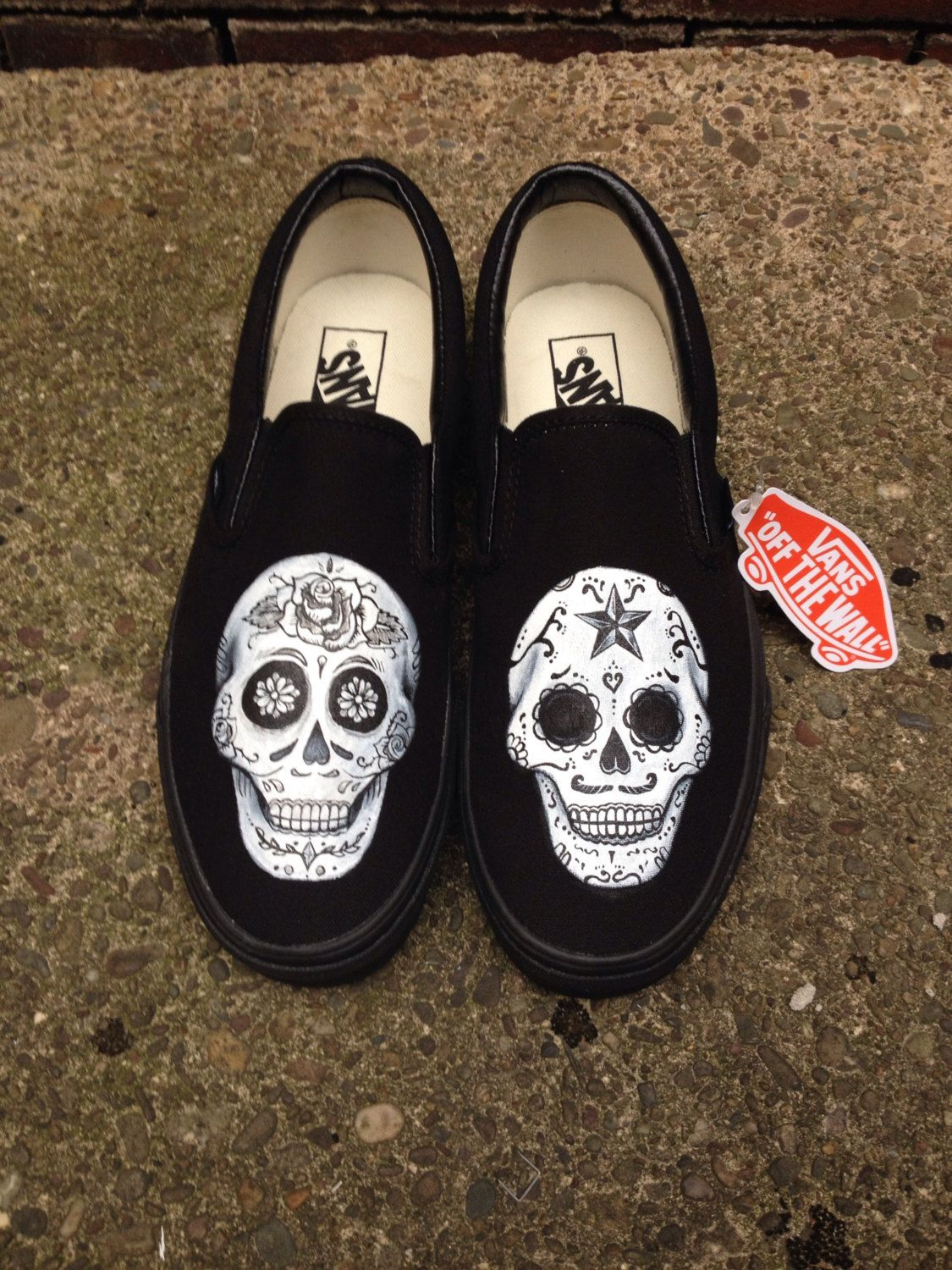 74df718d57 Day of the dead hand painted shoes. Dia de los muertos. Sugar skull shoes.  Halloween shoes by HJArtistry on Etsy