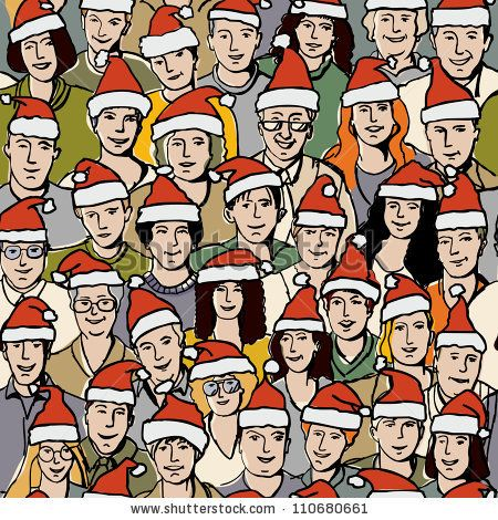 Big group people in Santa hats seamless pattern The group of unrecognizable adult people celebrate Christmas. Color vector seamless pattern ...