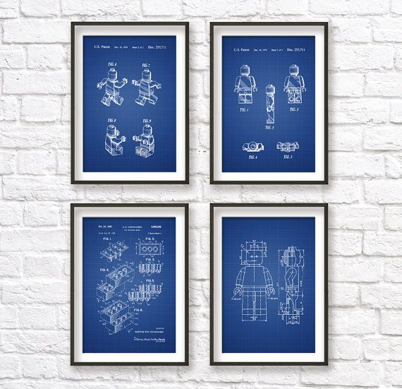Lego blueprint patent wall art poster set this set of four blueprint lego blueprint patent wall art poster set this set of four blueprint posters is printed using high quality archival inks on heavy weight malvernweather Images