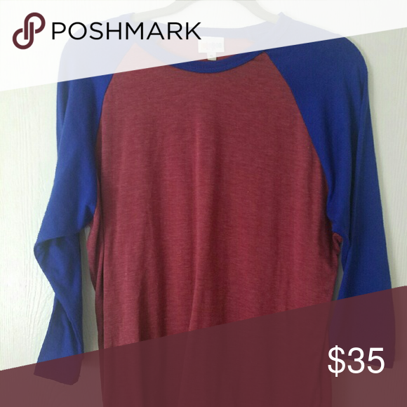 XL Randy Baseball Tee New Without Tags. Blue sleeves and Maroon Body LuLaRoe Tops