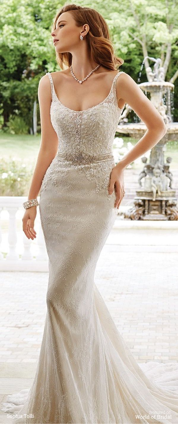 4ce1b77b502 Sleeveless allover soft lace sheath with hand-beaded illusion thin straps