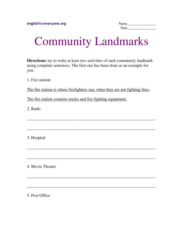 Community Landmarks Worksheet | Lesson Planet | liz | Pinterest