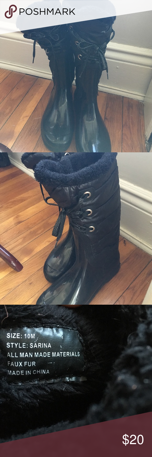 Stylish rain boots Black w faux fur. Firm price. ❤ great condition. other Shoes Winter & Rain Boots