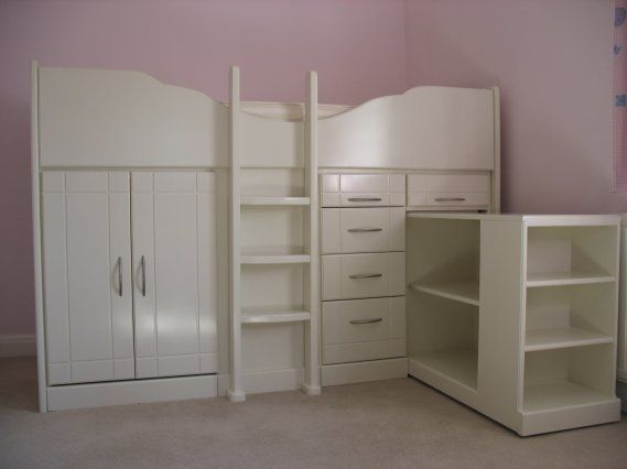 Small Box Room Cabin Bed For Grandma: Mid Sleeper Storage Bed With Pull-Out Bookcase