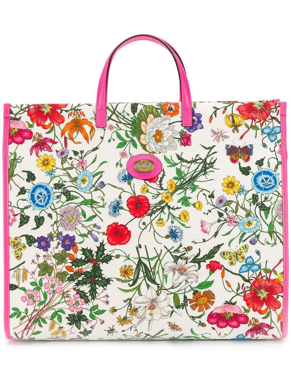 Gucci Floral Print Tote Bag Floral print tote, Printed
