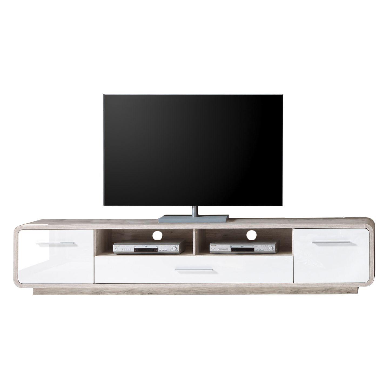 Wohnzimmer Lowboard | Tv Lowboard Lerida Hochglanz Weiss Sandeiche Dekor Roomscape