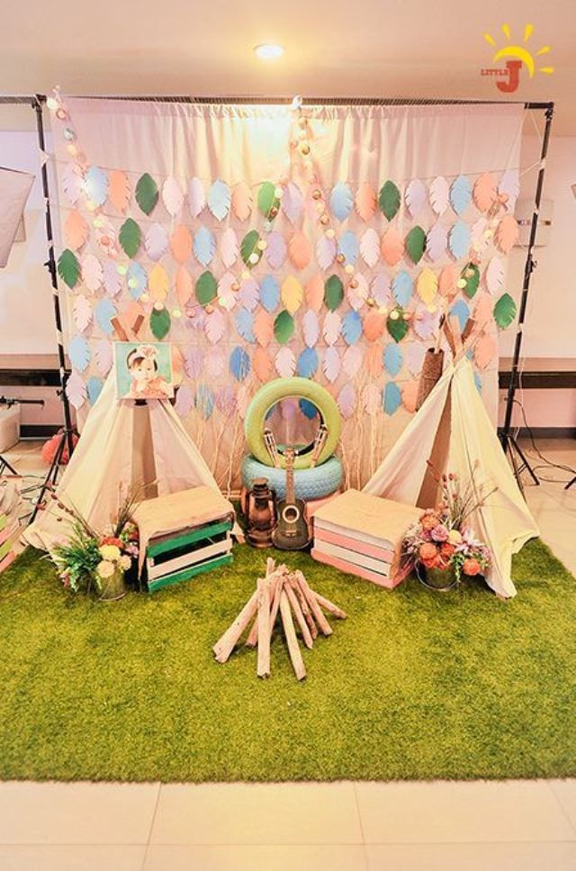 Macy S Glam Camping Themed Party 1st Birthday Camping Theme Party Coachella Theme Party Teepee Party