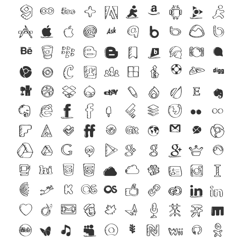 200 Sketched Social Icons Social icons, Graphic design