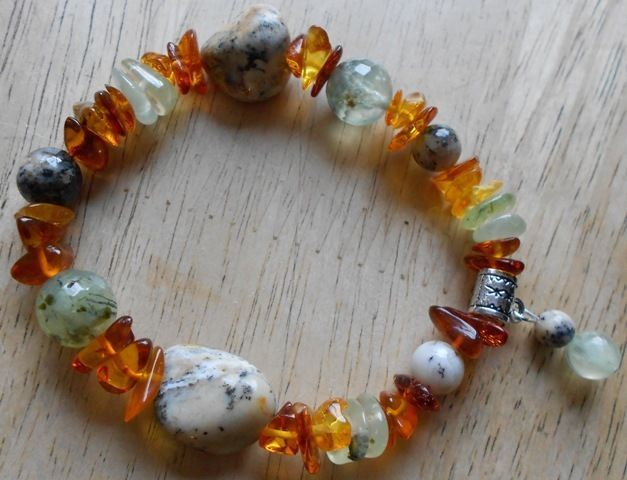 Prehnite, Amber and Merlinite Unique Bracelet pa8
