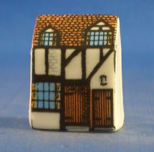 Miniature House Shape Fabric Store Porcelain China Collectable Thimble