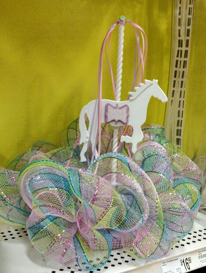Carousel deco mesh birthday centerpiece michaels craft for Michaels crafts birthday parties