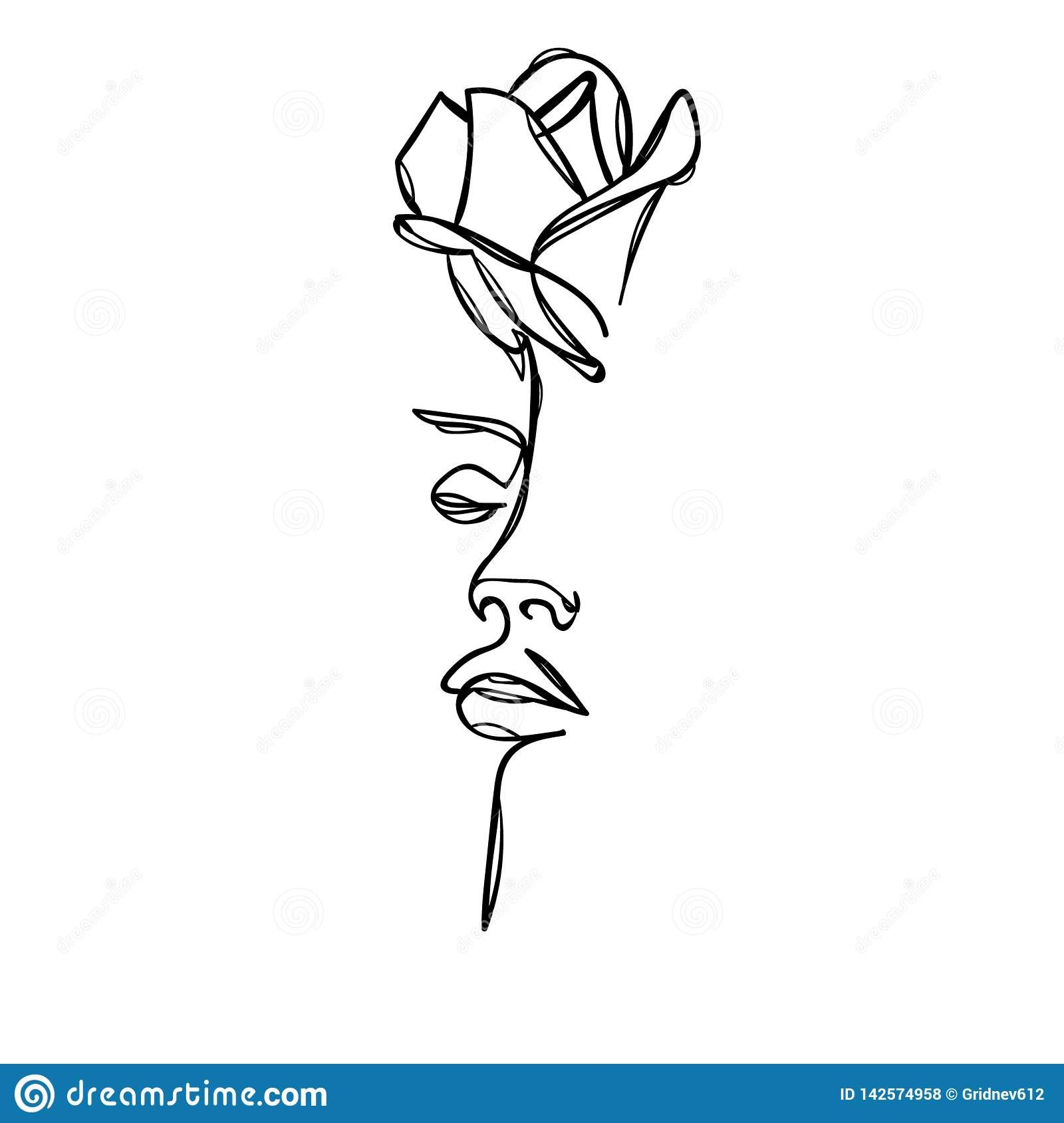 Woman Face With Rose Flower. Continuous Line Drawing. Vector Illustration Stock Vector - Illustration of head, cute: 142574958