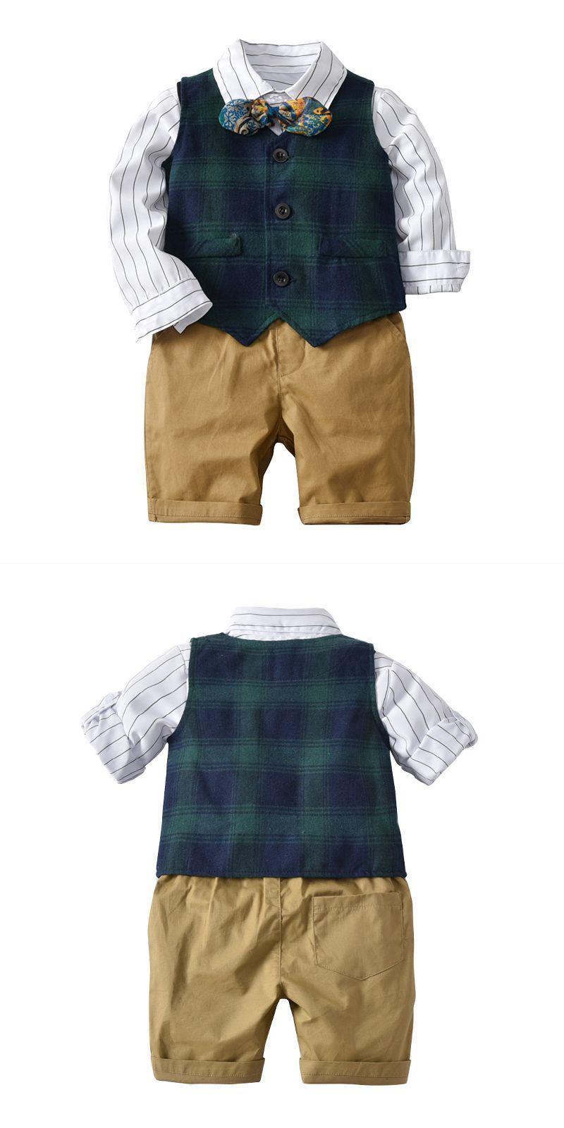 89d48d8dc9 4 pcs set little gentlemen cotton white shirts and green plaid vest and  shorts with bowtie