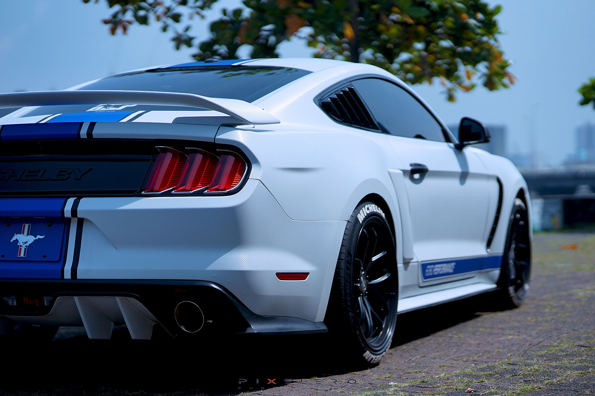 Mustang Ecoboost in GT350R spoiler, GT350 fender, and