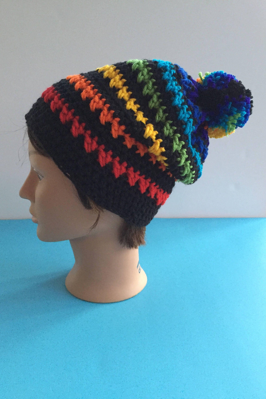 1a4344fdffe Rainbow crochet slouchy hat