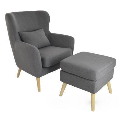Fauteuil Design Avec Repose Pied VILHELM En Tissus Gris Foncé Avec - Achat fauteuil design