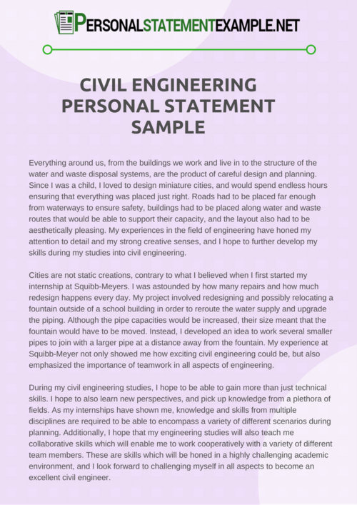Writing a civil engineering personal statement with no