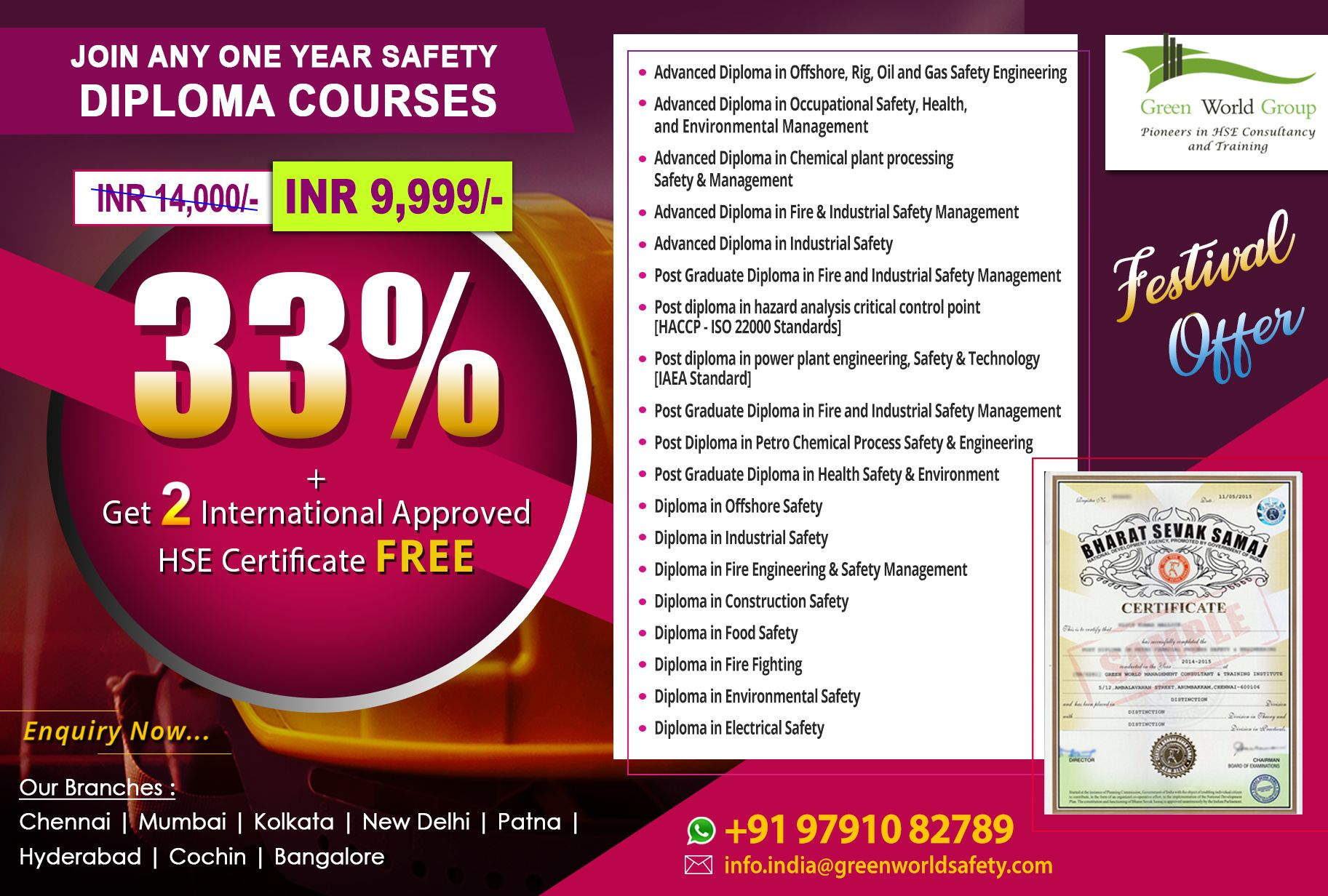 National Safety Diploma Courses are best certification for