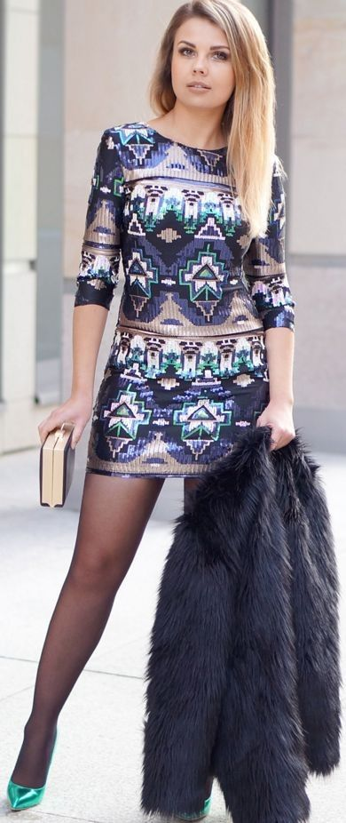 A PIECE OF ANNA - blog the fashion blog fashion blogger from Lublin: AZTEC PRINT DRESS sequined | PARTY LOOK | stylization New Year's Eve 2015/2016 #piece