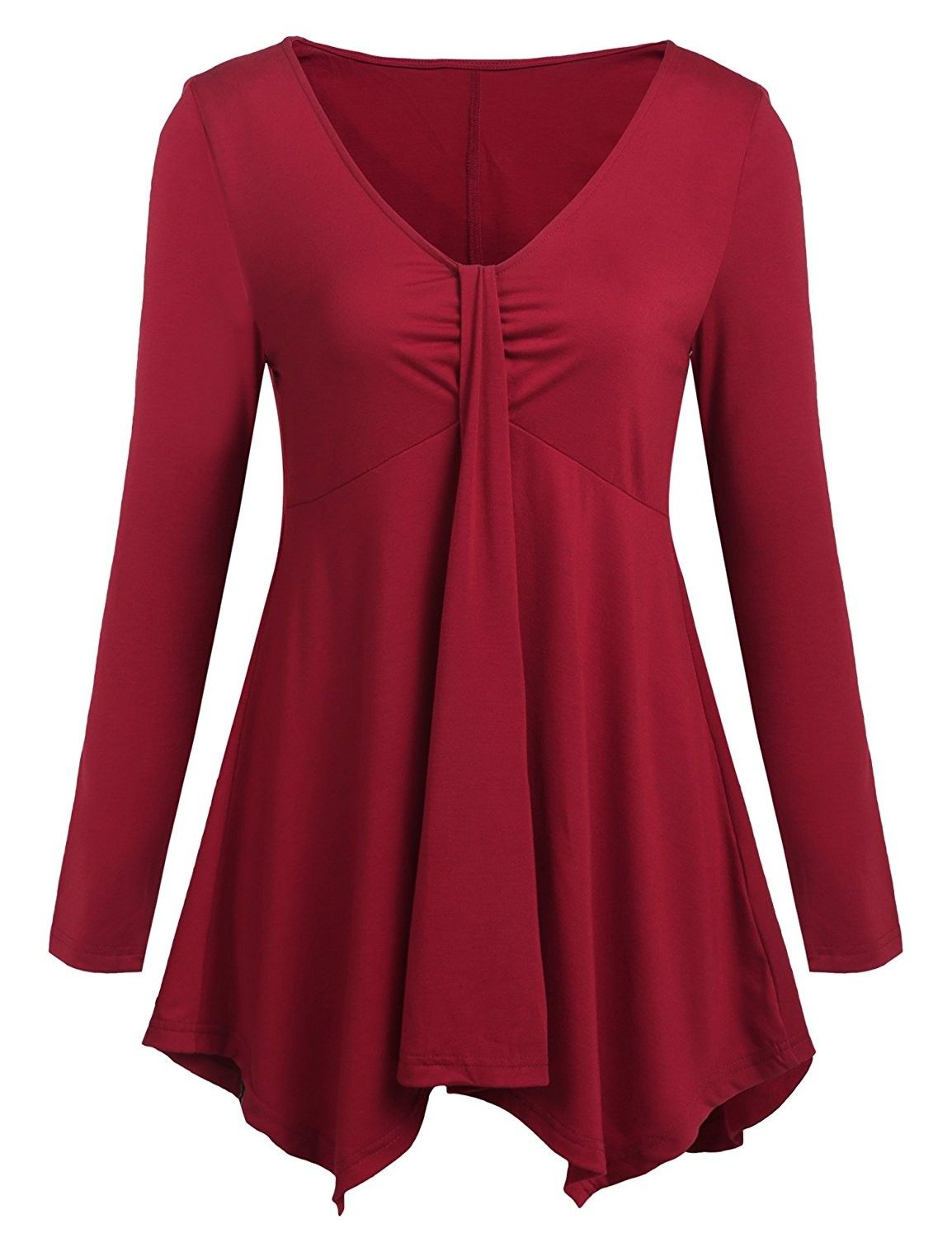 Women V Neck Twist Knot Front Blouse Top Casual Asymmetrical Hem Tunics Tops  - Wine Red - CD1878IDIES   Womens long skirt, Ladies tops fashion, Tunic  tops