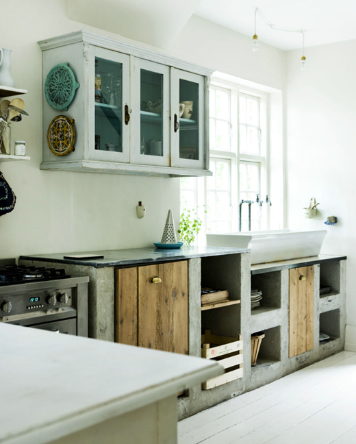 Kitchen concrete wood planks vessel sink and concrete for Cement kitchen cabinets