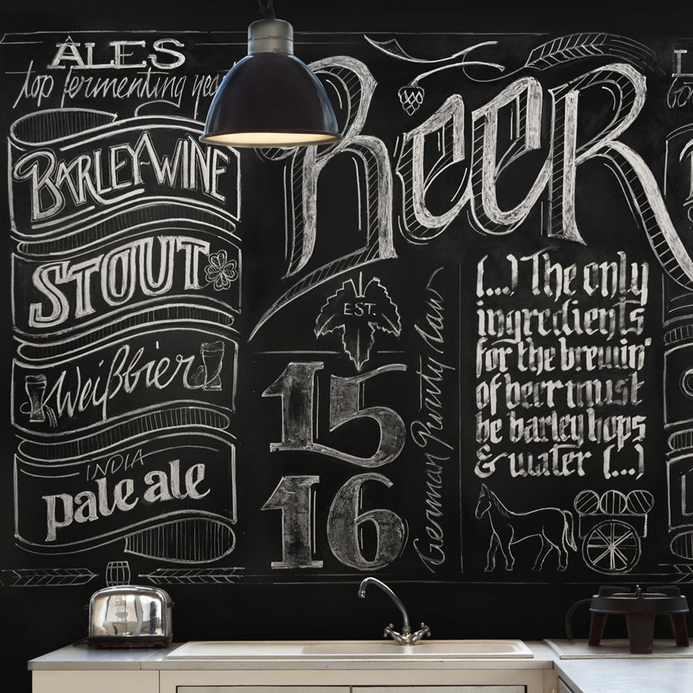 Beer Walls Wallpaper Republic Chalkboard Beer Wall Mural
