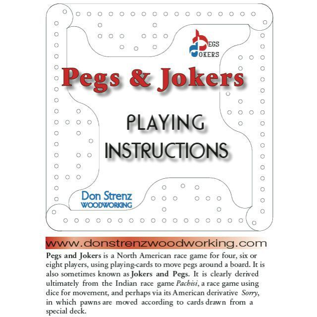 6 Player Hardwood Pegs And Jokers Board Game Pegs