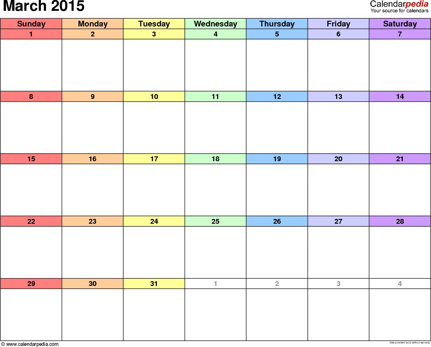 March 2015 calendar printable template   21 Day Fix   Pinterest ...
