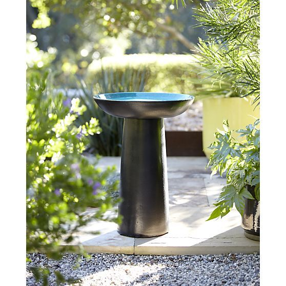 Ceramic Garden Wild Bird Bath Water Bowl Large Feeder Backyard Decor Year Round