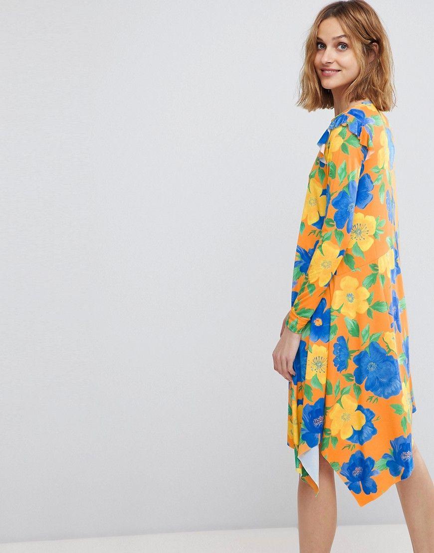 Asos mini dress with asymmetric hem in bright floral multi