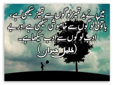 mainey badtameez logon se quote of the day urdu shayri golden