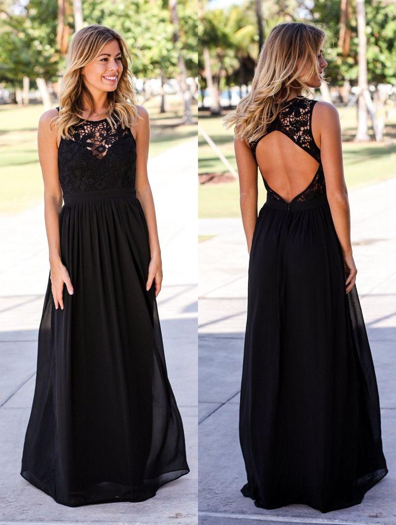 Click to buy ucuc black lace maxi bridesmaid dresses long
