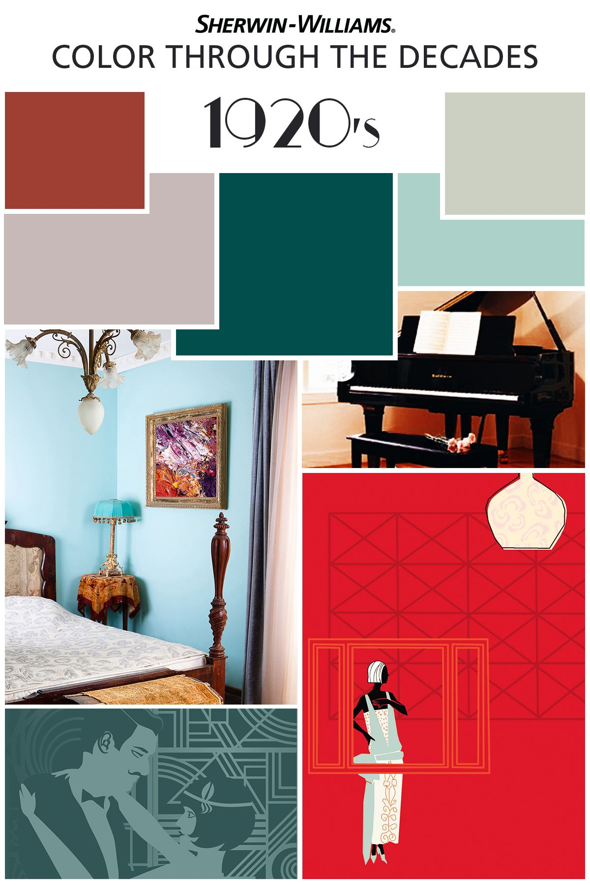 Folks preferred to jazz up their style during the jazz age of the 1920s while wall colors generally stayed neutral accents and decor brought drama to